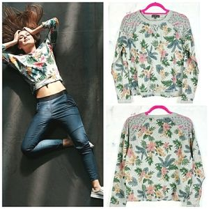 Lace Cold Shoulder Sweatshirt Top Floral Medium …
